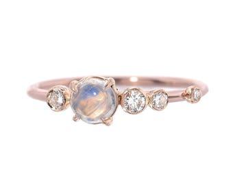 Moonstone Ring, Engagement Ring, Moonstone Diamond Ring, Diamond Cluster Ring, Asymmetrical Ring, Rose Gold Ring, June Birthstone, Nixin