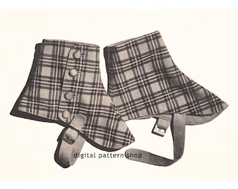 1940s Vintage Spats Pattern Steampunk Gaiters Sewing Pattern Victorian Shoe or Boot Covers Digital Instant Download -S02