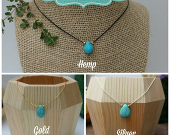 Customizable/ Build your own/ Turquoise Necklace/ Silver, gold or hemp necklace with Turquoise teardrop pendant