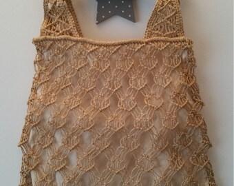 Embroidered bag vintage wood handles