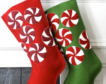 Handmade Wool Felt Christmas Stocking: Celebrate with Peppermints at the Holidays!