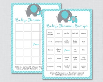 Elephant Baby Shower Bingo Cards - Prefilled Bingo Cards AND Blank Cards - Digital Instant Download - Aqua Elephant Baby Shower - 0024-A