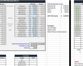 sample monthly budget