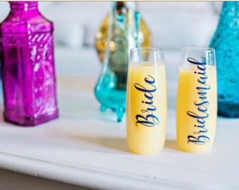 Bridesmaid PLASTIC Champagne Flutes, Stemless champagne flutes, Bridesmaid plastic champagne glasses, Bridesmaid Gift, Bachelorette, Plastic