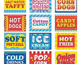 Food sign cutouts/ carnival party signs / carnival food party signs / carnival/ circus / circus party sign