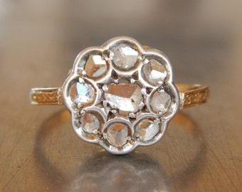 Antique Diamond Cluster Engagement Ring - FREE SHIPPING