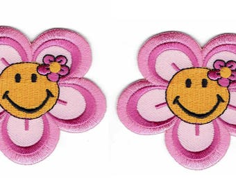 2-piece Smiley Face Pink Flower Motivational State of Mind Patch