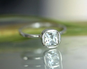 White Topaz Sterling Silver Ring, Gemstone Ring, Cushion Ring, April Birthstone, No Nickel / Nickel Free, Argentium - Custom Made For You