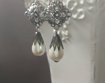 Titanic Pearl Earrings - Edwardian Jewelry - Vintage Style - Wedding Jewelry - Reproduction Jewelry - Titanic Costume - Gift for Her