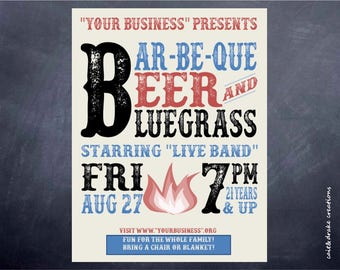 Barbeque Beer Bluegrass Party Flyer Digital Printable