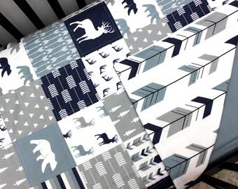 Baby Boy Woodland Crib Quilt, Buck Bear Arrow Bedding, Blue Grey Blanket