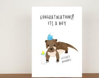 Congratulations Its A Boy/Girl Otter Card, Congratulations Card, Congratulations, Card, Its A Girl, Its A Boy, Otter Card