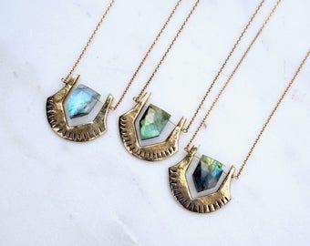 HELIX / Labradorite Bronze Necklace, Labradorite Pentagon Necklace, Labradorite Jewelry, Bohemian Necklace, Blue labradorite Necklace,