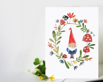 Floral Gnome Card