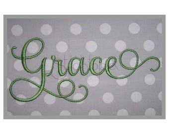 """Grace Embroidery Font #4 - 5"""" 6"""" 7"""" 11 Formats Machine Embroidery Fonts Script Embroidery Fonts BX Fonts PES Fonts - Instant Download Files"""