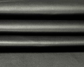 Black genuine leather fabric, black natural sheep leather material, natural lamb skin, genuine leather material, Moonless Night, 310, 0,8mm
