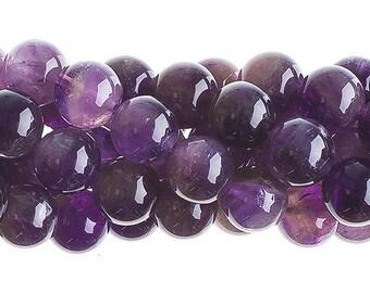 10 Pieces Natural Semi Precious Dark Amethyst Stone - Round (604)