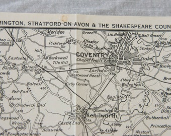 """1940 Leamington, Stratford-Upon-Avon, """"Shakespeare Country"""" United Kingdom (Great Britain) Vintage map"""