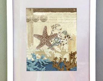 Nautical Starfish Art, Beach Ocean Art Print, Digital Download, Printable Art, Coastal Art Print, Wall decor