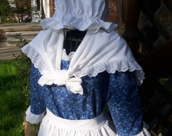 Girls Colonial Market Dress/Early American .. Mob cap,Apron,Neckscarf (PLEASE read full details in ad)