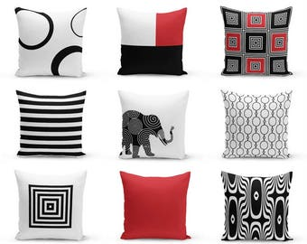 "Throw Pillows Covers, Black Red White, 16"" 18"" 20"" 26"" 14""x20"", Home Decor, Accent pillow covers, couch pillow covers"