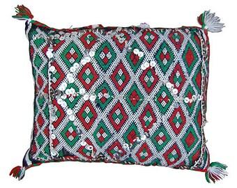 Orange & Green Diamonds Moroccan Pillow