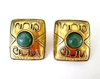 Laurel Burch Modernist Clip On Earrings Animal 1980s Statement Jewelry