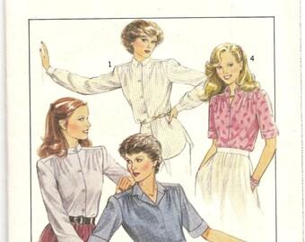 1980's Style 3096 Pattern Shirt Blouse Retro Vintage Size 8 Misses Woman garment fashion