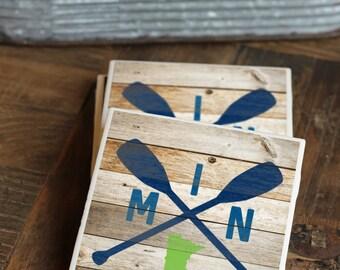 Minnesota Gift / Coasters / Minnesota / Twin Cities / Lake Decor / Minnesota Coasters / Outdoors / Decor / Minnesota Art / Tile Coasters