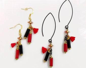 Black Red Earrings, Coral Onyx Dangle Earrings, Red Tassel Earrings, Gemstone Statement Earrings, Cylinder Earrings