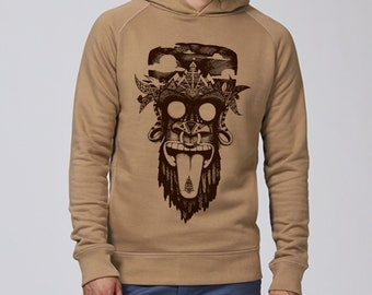 Hand screen printed Hoodie Sweatshirt / Monkey / Camel