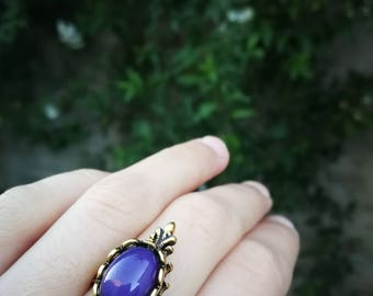FREE SHIPPING Gold purple ring , milky purple glass ring, purple opal ring antique gold, purple stone rings for women