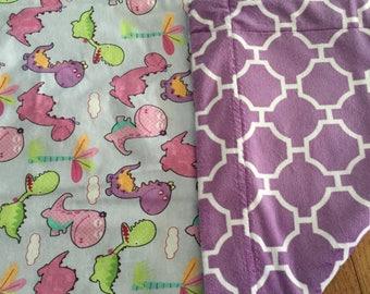Dinosaur Friends in pink an purple baby blanket