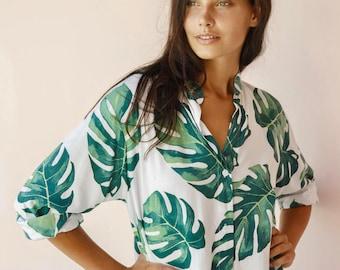 Pandora Night Shirt - Long Sleeve - Panama Palm Leaf - Code: P130 (b)