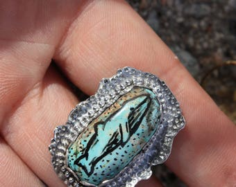Royston Turquoise, Hand Made, Hand Painted, Sterling Silver Ring Size 6