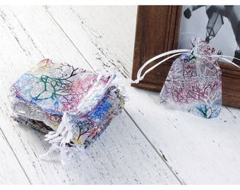 20 bags organza 9x7cm multicolored coral pattern sleeves