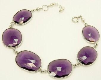 Sterling Silver Amethyst Bracelet Modernist Design