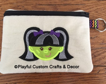 Girl Witch Embroidered Lined Zipper Pouch