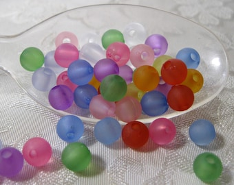 Frosted Round Acrylic Beads Assorted Colors 6mm 807
