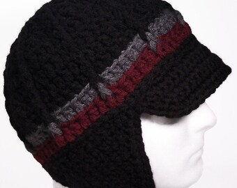 Newsboy Style Beanie Hat with Earflaps and Visor Brim - SMITH ROCK