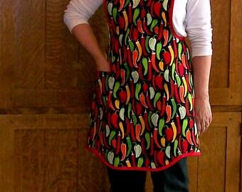Chili Pepper Retro Kitchen Apron - Chili Cookoff Woman Apron - Size XL