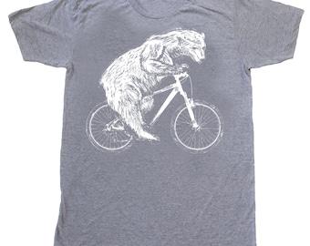 Polar Bear on a Bicycle - Mens T Shirt, Unisex Tee, Tri Blend Tee, Handmade graphic tee, sizes xs-xxl