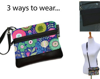 Cell Phone Purse - Fanny Pack or Wristlet - Cell phone Cross body Bag - Small Cross body Purse - Long Zip Bag- Botany Fabric