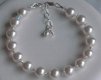 Simple Swarovski Crystal Pearl Children  Bracelet
