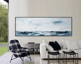 "extra large seascape painting 72"" Ocean waves sea abstract art painting Blue white Long horizontal art ElenasArt 'one quiet morning'"