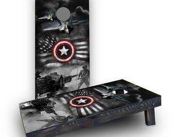 American Fighter Jets Themed Custom Cornhole Board Game Set - Made in the USA!