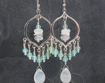 Peruvian opal earrings, beaded earrings, aqua gemstone earrings, Opal earrings, October birthstone, chandelier earrings, opal gift for her