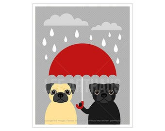 136D Pug Print - Two Pugs with Red Umbrella Wall Art - Black Pug Print - Fawn Pug Art - Funny Dog Art - Umbrella Print - Dog Art Print