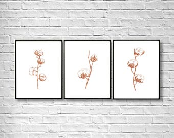 Shabby Chic Set of 3, Cotton Natural Art Print, Cotton Bolls Painting, White Taupe Beige Brown Home Decor, Living Room decor, Stippling art