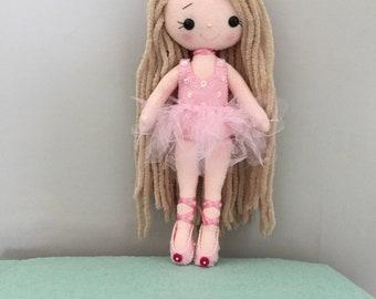 Gingermelon ballerina doll. My Felt Doll.Individual handmade doll. Heirloom doll